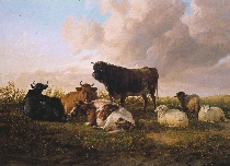 A Bull, Cows and Sheep in a Pasture by T.S. Cooper